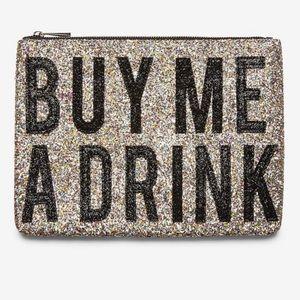 Express Buy Me A Drink Glitter Clutch Bag